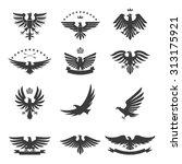 eagle silhouettes bird heraldic ... | Shutterstock . vector #313175921