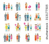 family icons flat set with... | Shutterstock . vector #313177505