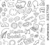 social media seamless pattern... | Shutterstock . vector #313177535