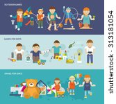 kids playing flat banner set... | Shutterstock . vector #313181054