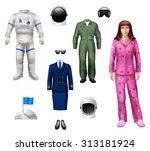 astronaut girl character pack... | Shutterstock . vector #313181924