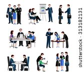 teamwork icons set with men and ... | Shutterstock . vector #313182131