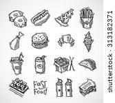 fast food black sketch... | Shutterstock . vector #313182371