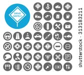 driving safety icons set.... | Shutterstock .eps vector #313183211