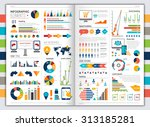 flat paper infographic set with ... | Shutterstock . vector #313185281