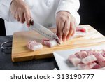 chef sliced streaky pork on... | Shutterstock . vector #313190777