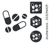 medicine icon set  monochrome ... | Shutterstock .eps vector #313196429