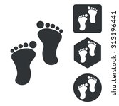 footprint icon set  monochrome  ...
