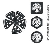 pizza icon set  monochrome ...