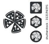 pizza icon set  monochrome ...