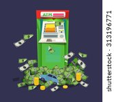 atm machine with a lot of money.... | Shutterstock .eps vector #313196771
