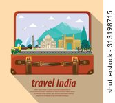 illustration. travel around... | Shutterstock .eps vector #313198715
