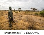 A park ranger working in the Tarangire National Park in northern Tanzania, Africa