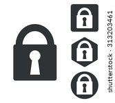 locked icon set  monochrome ...