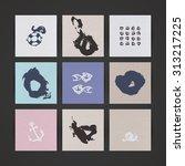 set of nine creative paper... | Shutterstock .eps vector #313217225