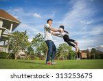 healthy father and daughter...   Shutterstock . vector #313253675