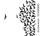 silhouette group of flying... | Shutterstock . vector #313280885