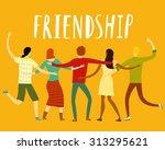 group of five happy friends ... | Shutterstock .eps vector #313295621