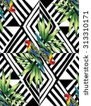 parrot and palm leaves mirror...   Shutterstock .eps vector #313310171
