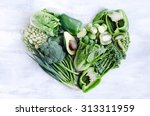 fresh green vegetables arranged ... | Shutterstock . vector #313311959