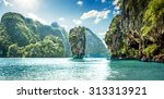 james bond island in phang nga... | Shutterstock . vector #313313921
