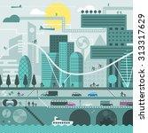 city illustration in flat style ... | Shutterstock . vector #313317629