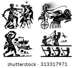 big collection of silhouettes... | Shutterstock .eps vector #313317971