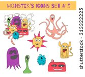 set of doodle monsters icons in ... | Shutterstock .eps vector #313322225