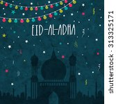 creative mosque on colorful... | Shutterstock .eps vector #313325171