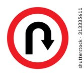 prohibition sign u turn .... | Shutterstock .eps vector #313335611
