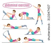 set of exercises. woman doing... | Shutterstock . vector #313347437