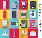kitchen home appliances icons... | Shutterstock .eps vector #313352591