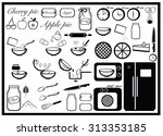 pie baking set  cooking... | Shutterstock .eps vector #313353185