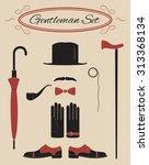 gentleman icon set  vintage... | Shutterstock .eps vector #313368134