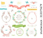 wedding retro set. arrows ... | Shutterstock .eps vector #313375679