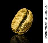 Gold Coffee Bean On Black...
