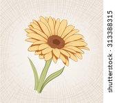 vector hand drawn yellow flower.... | Shutterstock .eps vector #313388315