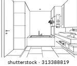 outline sketch drawing... | Shutterstock .eps vector #313388819