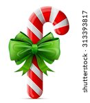 christmas candy cane with bow.... | Shutterstock .eps vector #313393817