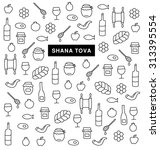 shana tova. collection of icons ... | Shutterstock .eps vector #313395554
