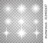 Set Of Glowing Light Stars With ...