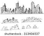 doodle of cityscape vector... | Shutterstock .eps vector #313406537