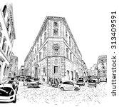 city hand drawn. street sketch  ... | Shutterstock .eps vector #313409591