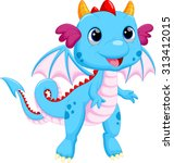 cute baby dragon cartoon | Shutterstock .eps vector #313412015