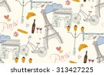 paris symbols  postcard ... | Shutterstock .eps vector #313427225
