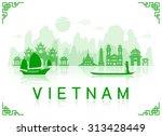vietnam travel landmarks.... | Shutterstock .eps vector #313428449