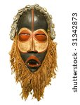 African Tribal Mask Isolated O...