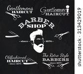 set of vector retro barber shop ... | Shutterstock .eps vector #313429019