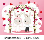 two cute bunny bride and groom. ... | Shutterstock .eps vector #313434221