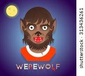 halloween party werewolf role... | Shutterstock .eps vector #313436261